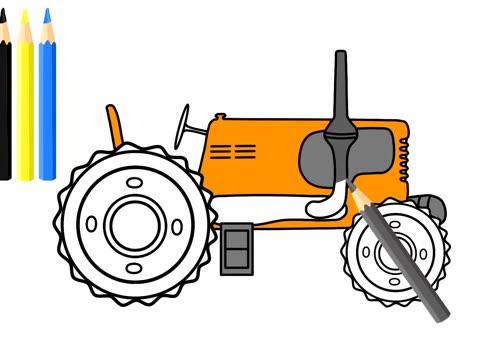 牵引拖拉机牵引犁田动画为孩子