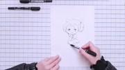手绘漫画教程-水彩铅笔画动漫人物