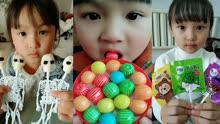 吃播小美女,魔鬼棒棒糖 彩虹泡泡糖,吃各种口味的糖果