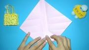 非常漂亮的迷你手提袋折纸,一张纸就能做出来,手工折纸视频教程图片