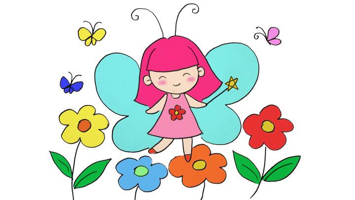 兒童簡筆畫教程|可愛的花仙子小精靈,好看又好畫 本視頻暫不支持播放
