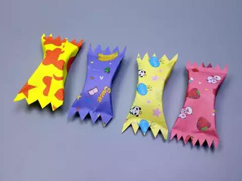 2分钟教你创意糖果折纸,步骤非常简单,diy手工视频教程