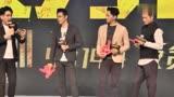 《反貪風暴3》北京首映發布會三大男主演與主持人互動