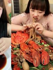大胃王吃播 吃水煮大龙虾
