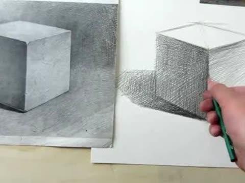 石膏几何体-正方体画法,素描入门视频教程