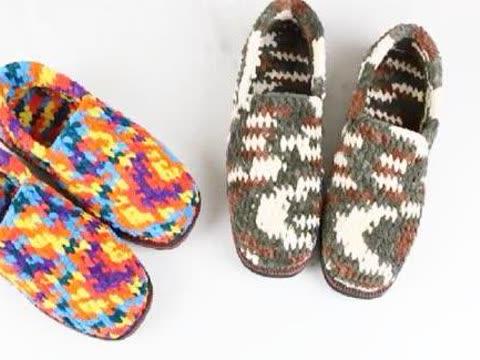 毛线编织 冰条线双色毛线拖鞋,棉鞋钩织视频教程,新手编织教程
