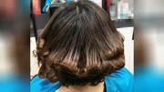 发型师为美女做了棕色与内扣发型, 变的时尚多了!