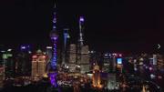 航拍灯光璀璨的国际大都市