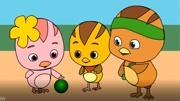 萌鸡小队动画片简笔画,三只小鸡在一起玩球.小孩,儿童学画画