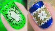 欧美2019流行指甲图案,绿色的很亮眼!图片