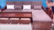 新中式多功能实木沙发#新中式 #多功能沙发 #家具