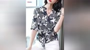 真丝上衣女2019新款蝴蝶结系带洋气印花短袖桑蚕丝衬衣半袖衬衫