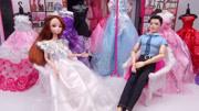 芭比娃娃去服装店,男朋友挑选的白色蝴蝶裙子美极了