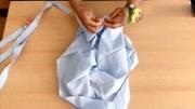 老公不穿的旧衬衫,简单一剪,秒变时尚一字肩上衣!穿上太美啦!