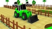少儿趣味动画,铲土机把草皮铲起,铁锹在地上挖坑