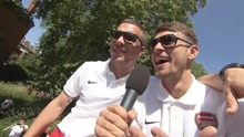 FUNNY_Aaron_Ramsey_turns_reporter_to_interview_Lukas_Podols