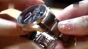 冠琴正品男士商务时尚计时运动夜光防水精钢手表细节