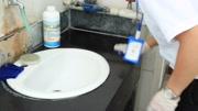 大理石洗手池台面石材严重水垢脏污清洗增光增亮大理石光亮如新
