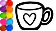 儿童学画画,画一个杯子和着色!